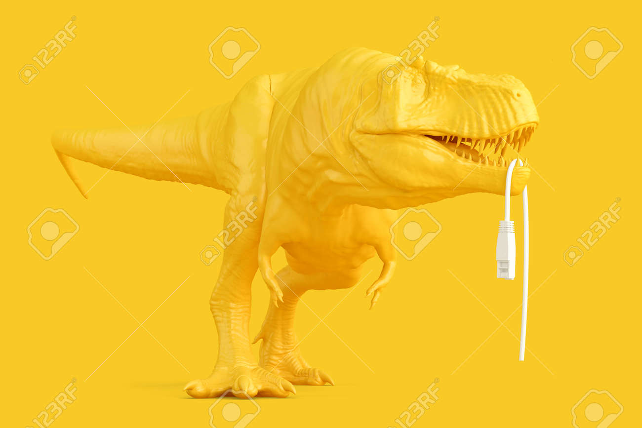 Tyrannosaurus with torn of network cable. Networking concept. 3D rendering - 161105886