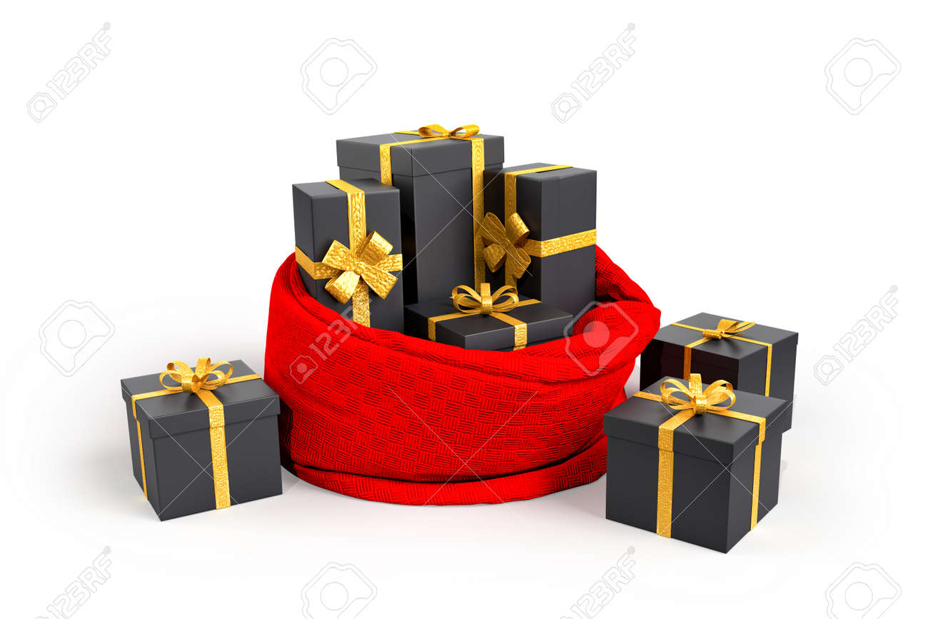 Open Santa's bag with presents. 3D rendering - 161105887