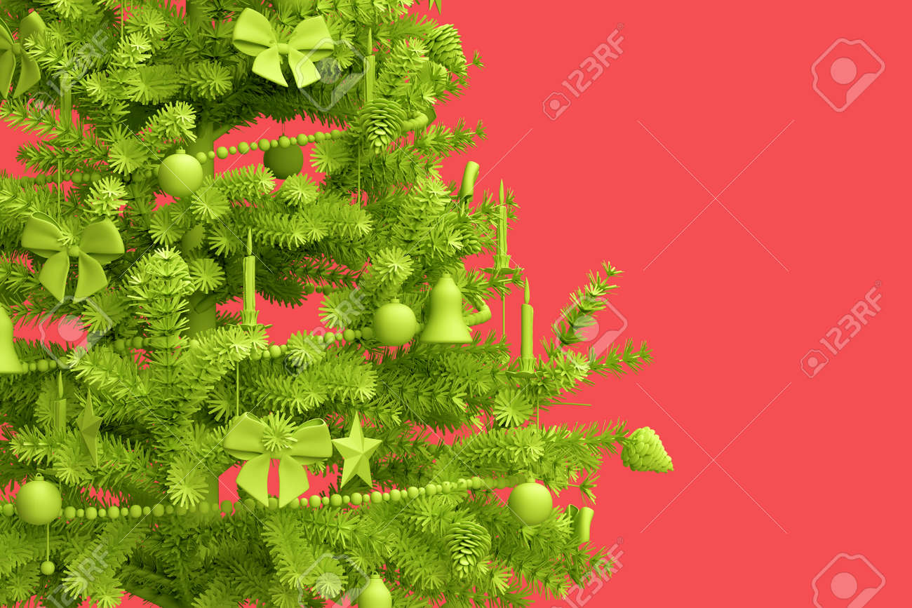 Close-up of decorated Christmas tree on pink background. 3D rendering - 162816737