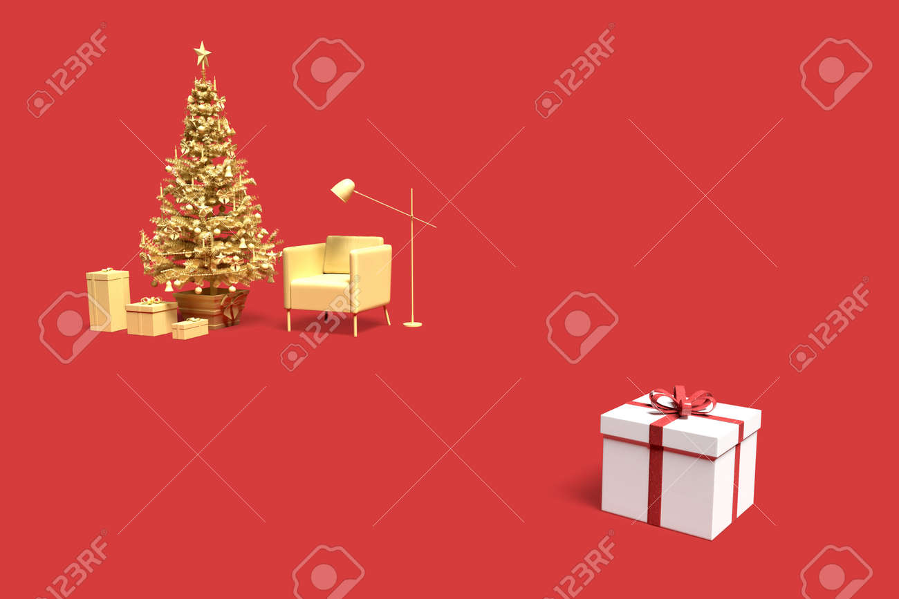 Minimalistic interior scene with Christmas tree and gift boxes. 3D rendering - 162816738