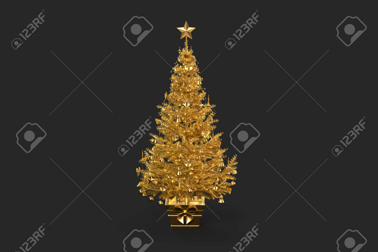 Golden decorated christmas tree. 3D rendering - 162816739