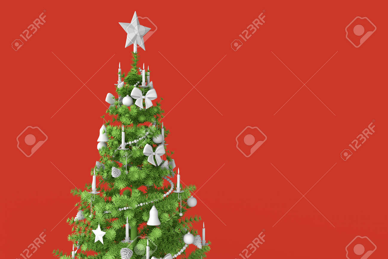 Decorated christmas tree close-up. 3D rendering - 162816741
