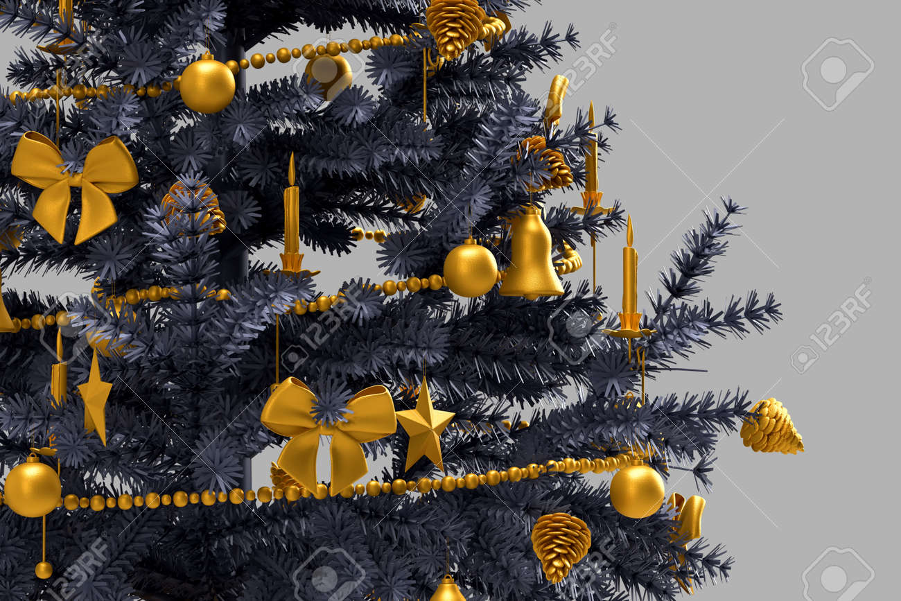 Close_up of decorated christmas tree. 3D rendering - 161105891