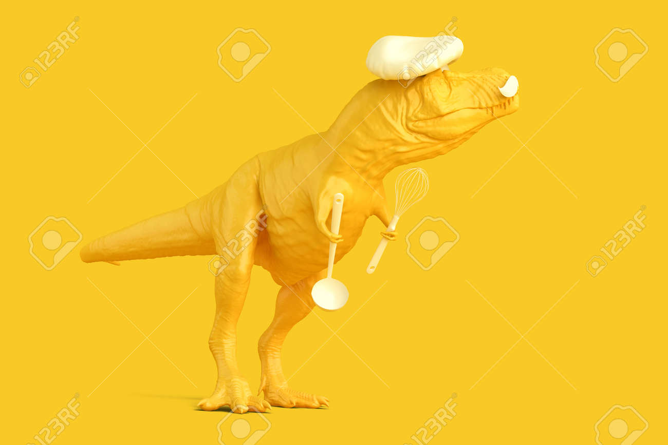 Tyrannosaurus cef with kitchen spoon and whisk. Networking concept. 3D rendering - 162850527