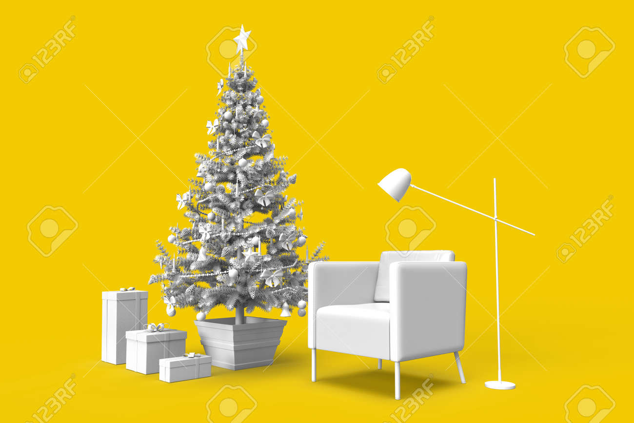 Cozy room interior with Christmas tree and gifts. 3D rendering - 161105892