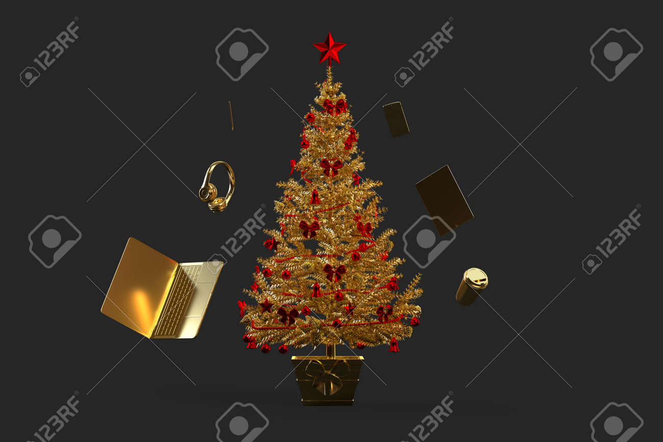 Golden decorated christmas tree with various gadgets. 3D rendering - 161105893