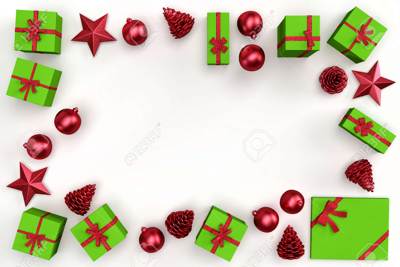 Christmas decorative elements and gift boxes forming rectangular frame. 3D rendering - 161105894