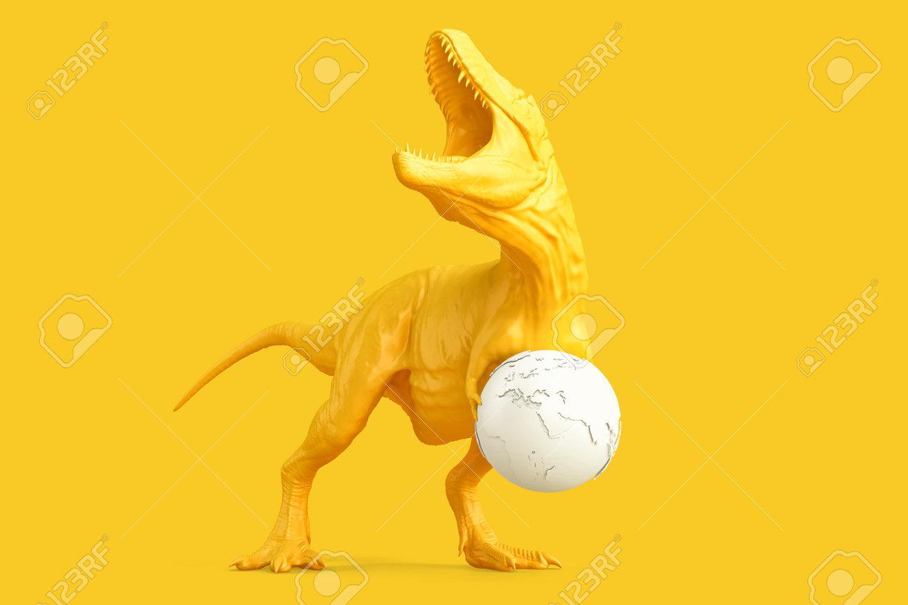Tyrannosaurus with earth globe. 3D rendering - 161105896