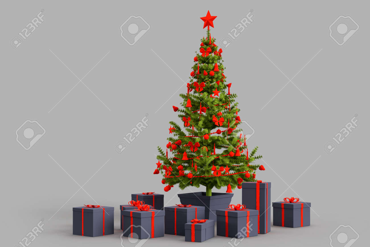 Christmas tree with presents gift boxes. 3D rendering - 161105897