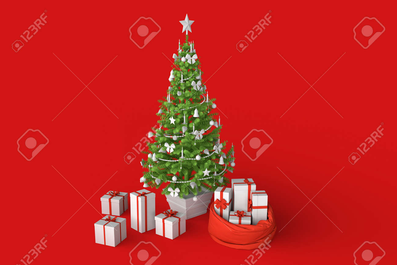 Christmas tree with presents gift boxes. 3D rendering - 161105898