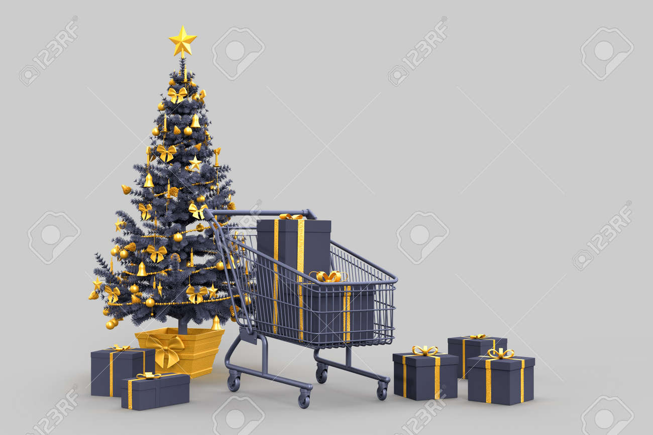 Christmas tree, gift boxes and shopping cart. 3D rendering - 161105899