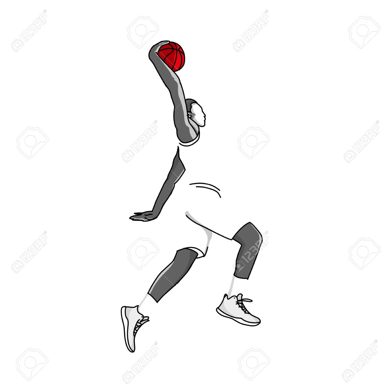 vector Basketball player jump in the air to shot with a slam dunk posture. - 130212762