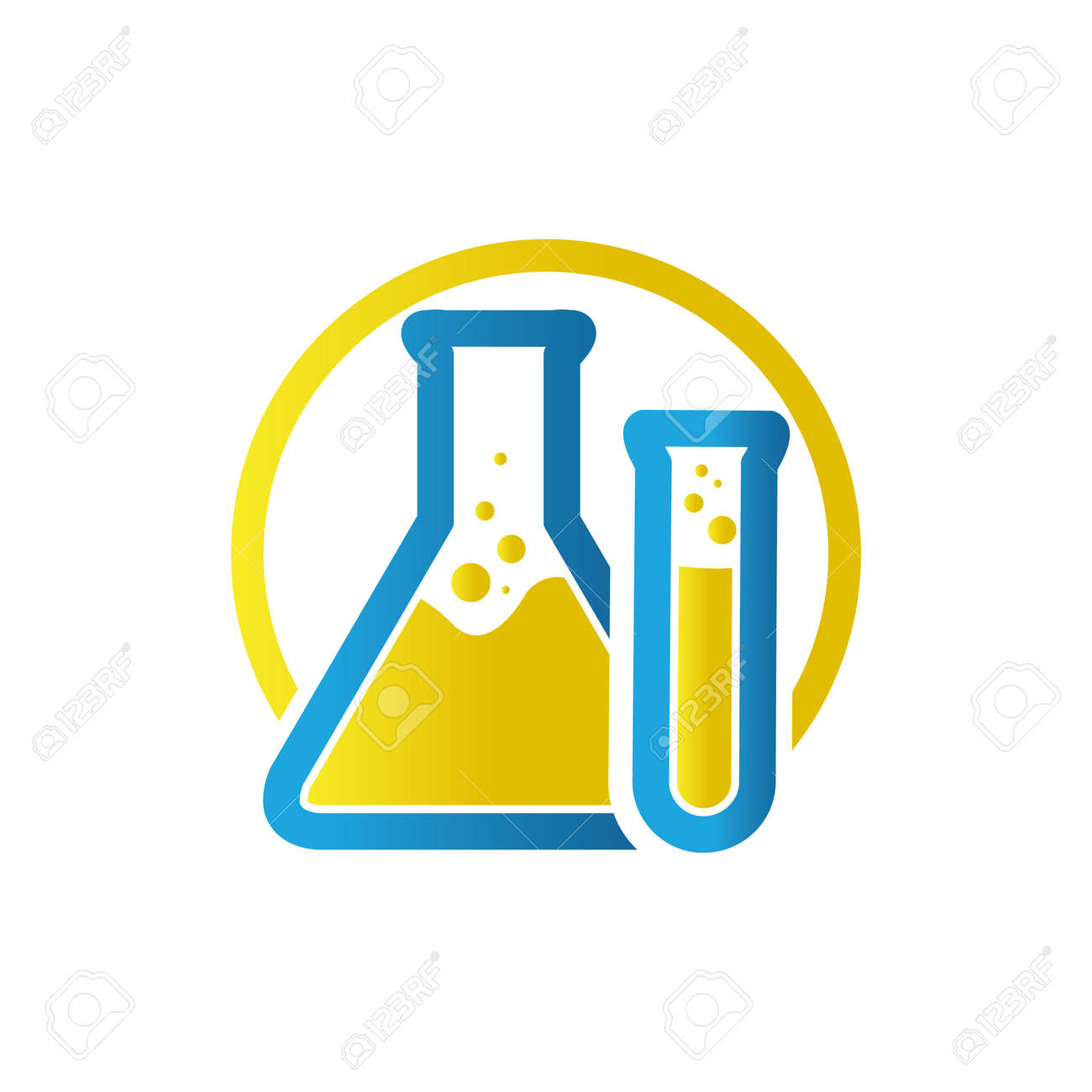 blue yellow flask sign Lab template vector design research science technology symbol - 157158301