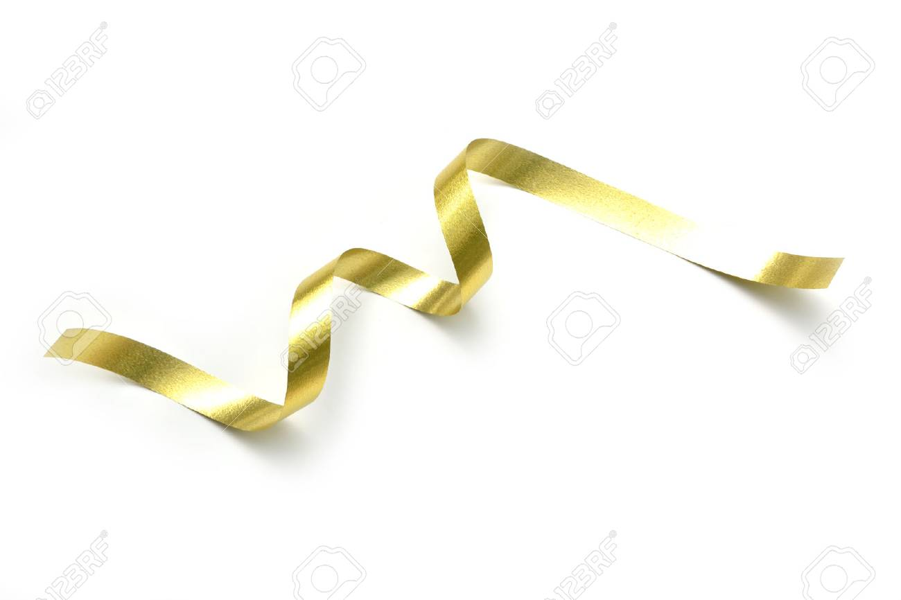 the spiral golden ribbon isolated on white background. - 78065405