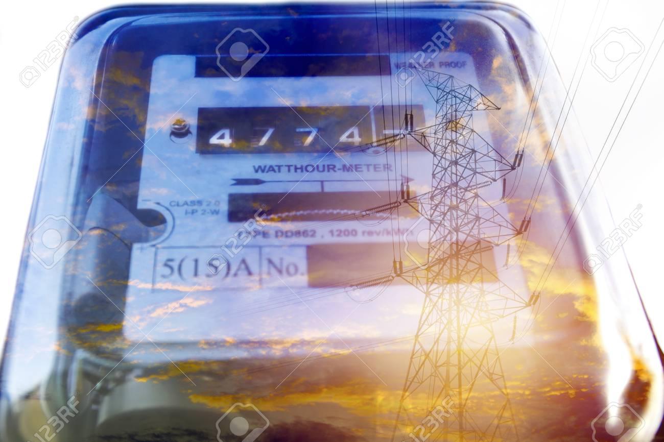 Electric power meter measuring power usage. Watt hour electric meter measurement tool. - 100819094