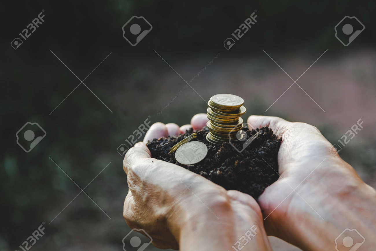Saving money concept with hand holding money coin stack. financial and accounting concept. - 156925385