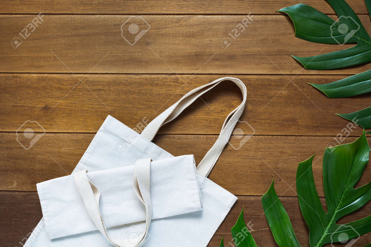 White tote bag canvas fabric. Cloth shopping sack mockup with copy space. - 160640954