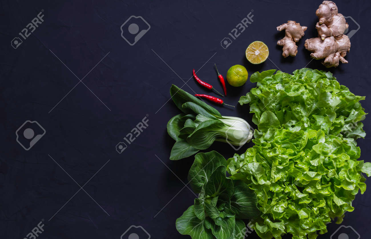Top view of vegetables and on black background with copy space for insert text. Healthy food concept. - 162914361