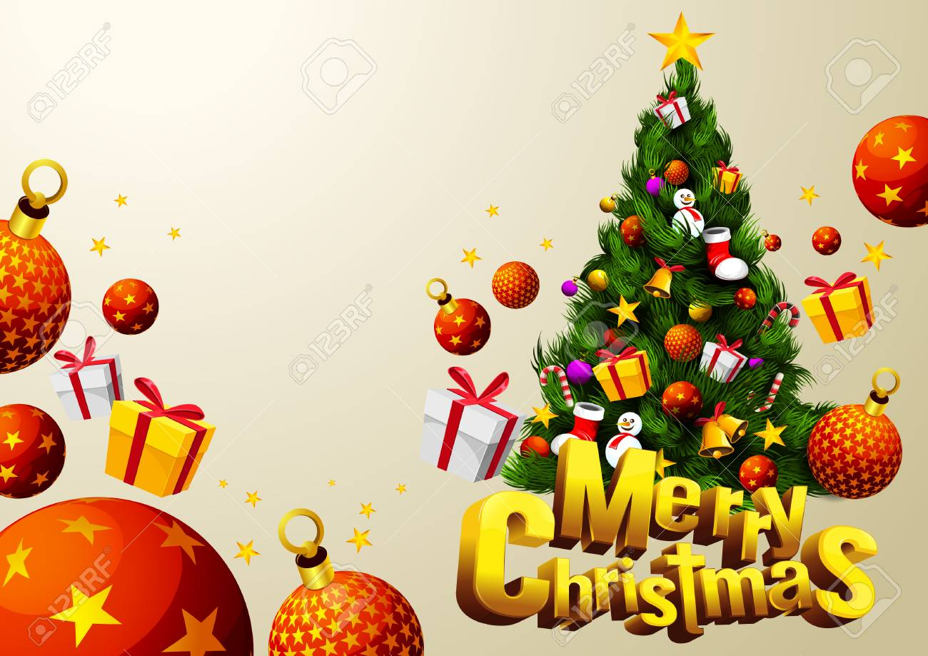 Christmas Festival Cartoon Images.Merry Christmas Tree With Gift Festival Cartoon Vector Illustration