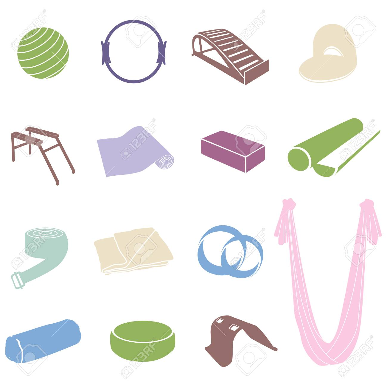 Yoga And Pilates Equipment Set Royalty Free Cliparts 0b23ab81d