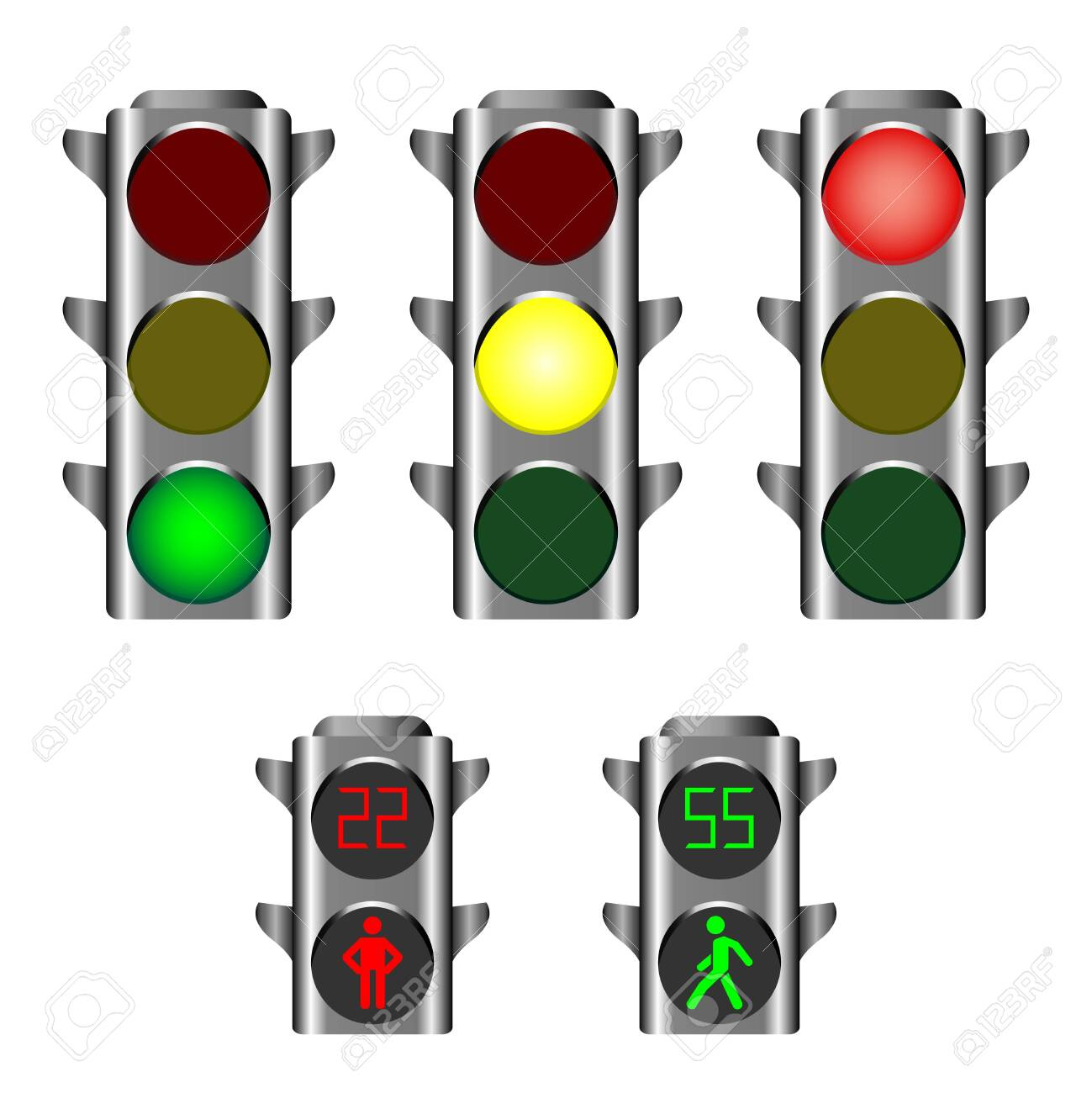 Traffic lights showing red, amber or green lights for drivers and pedestrian lights red and green - 124026340