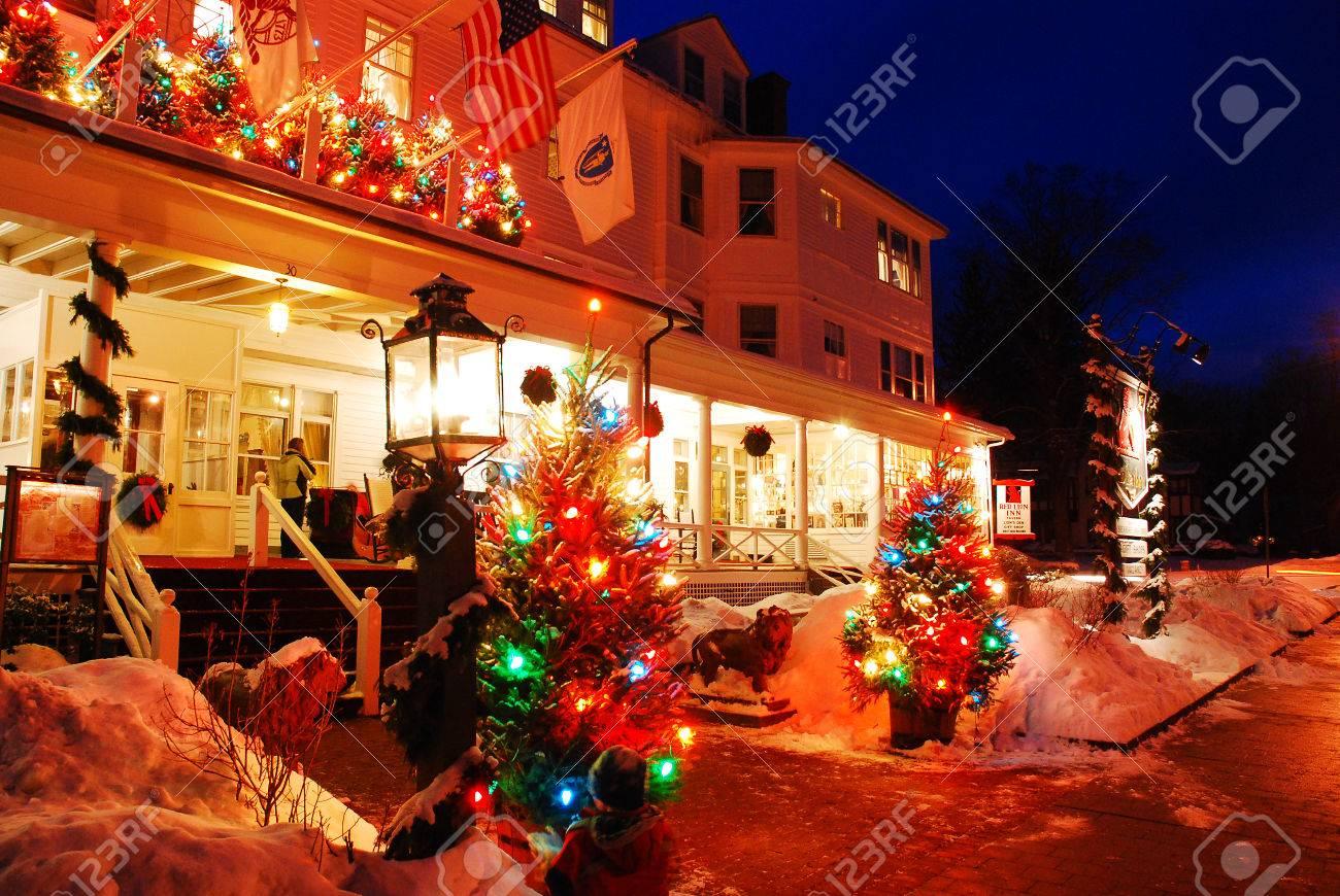 Christmas In Stockbridge, Massachusetts, Home Of Illustrator.. Stock ...