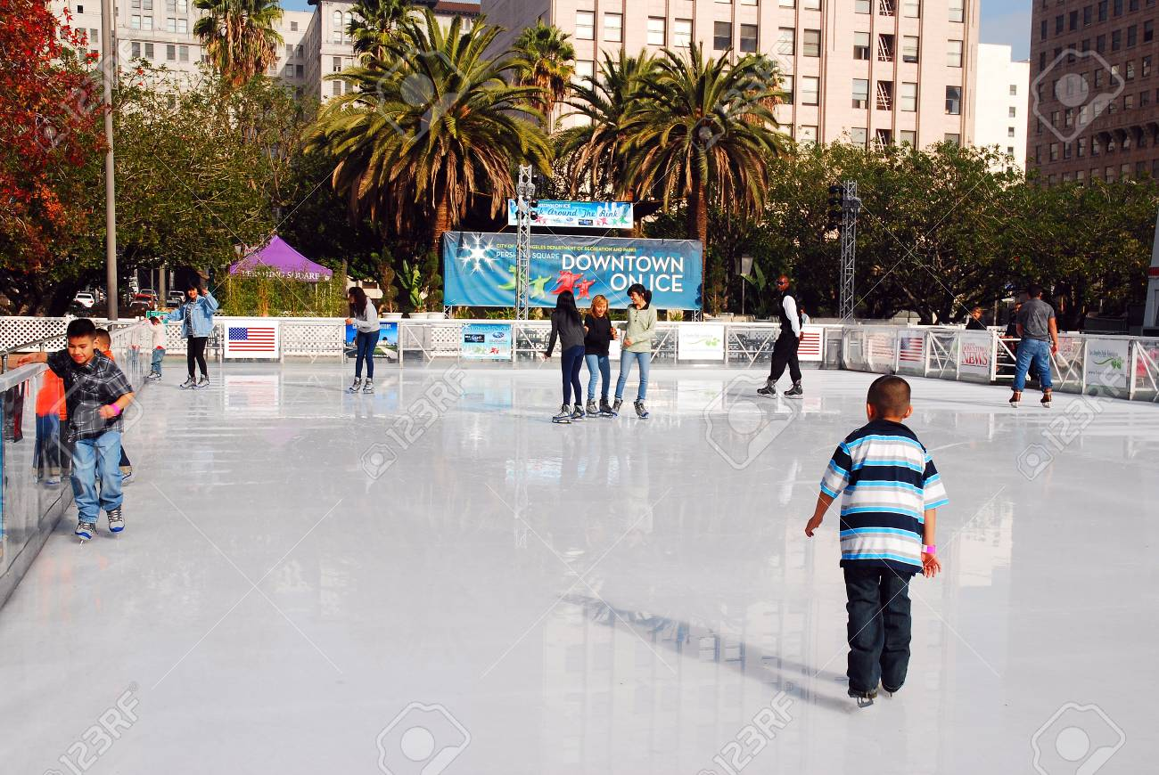 Young and Old Enjoy Ice Skating and Warm Weather, Los Angeles