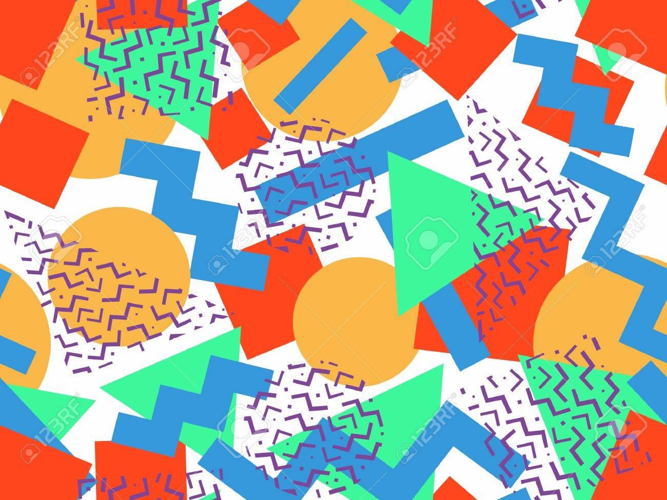 Seamless geometrical memphis pattern in retro 80's 90's style