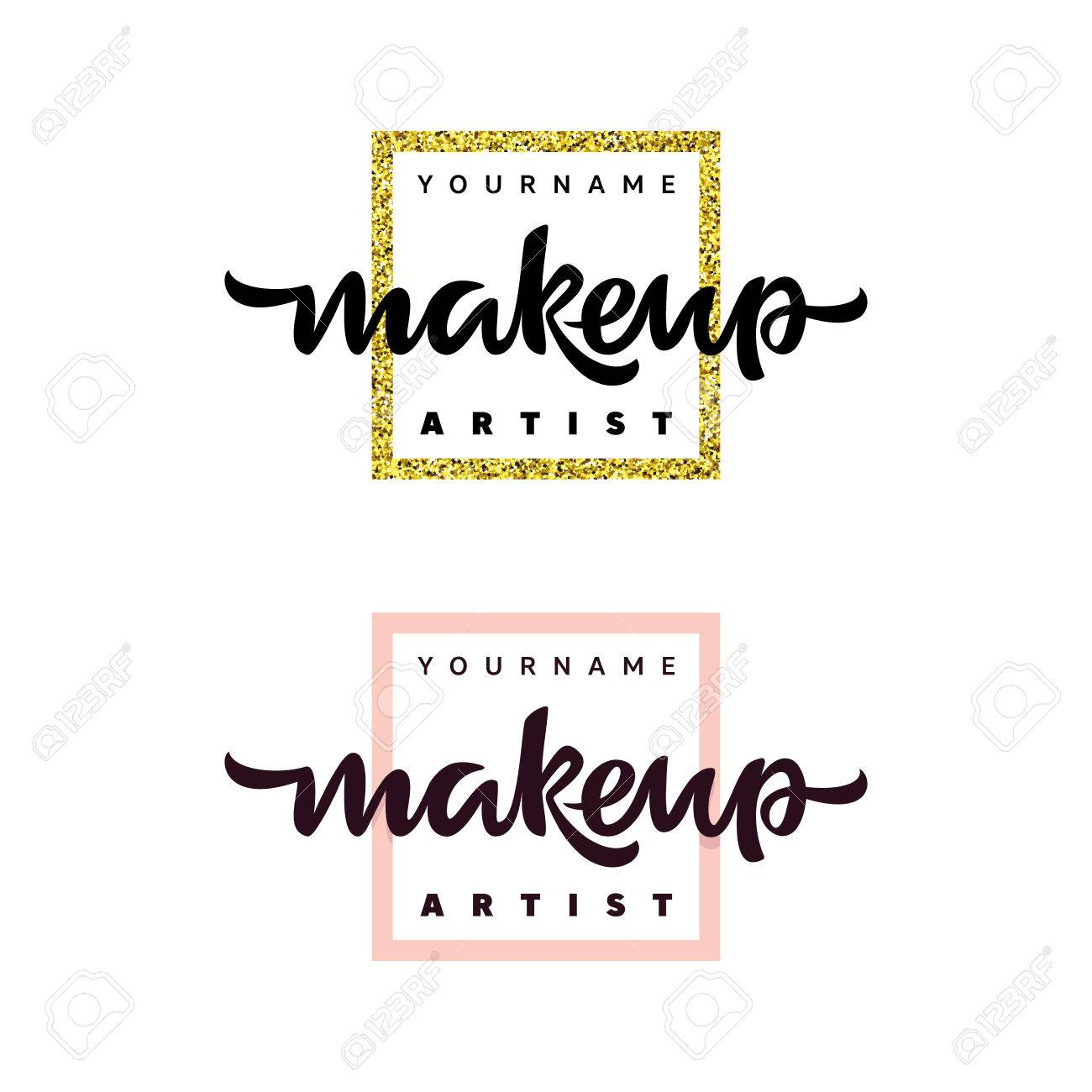 Makeup Artist Fashion Logo Lettering Illustration Stock Vector