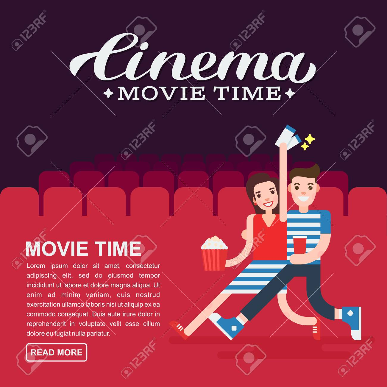 Cinema Poster Or Movie Banner Template Lettering Writing Couple People With A Popcorn