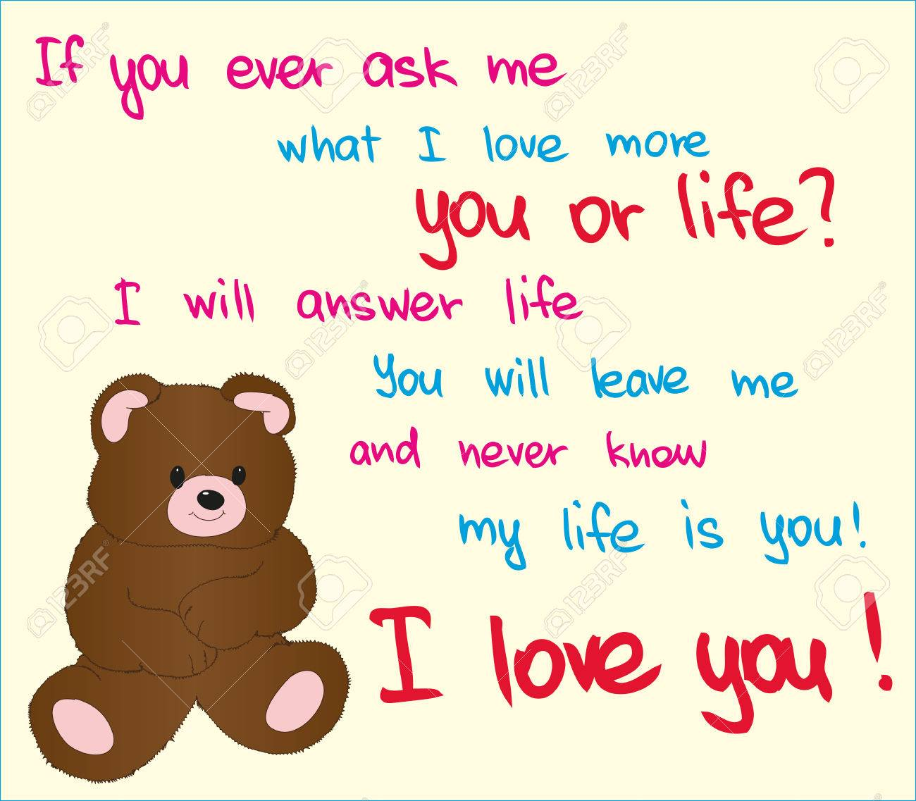 Picture Of Bear With Love Words For Special Occassions Valentine – Valentine Card Words
