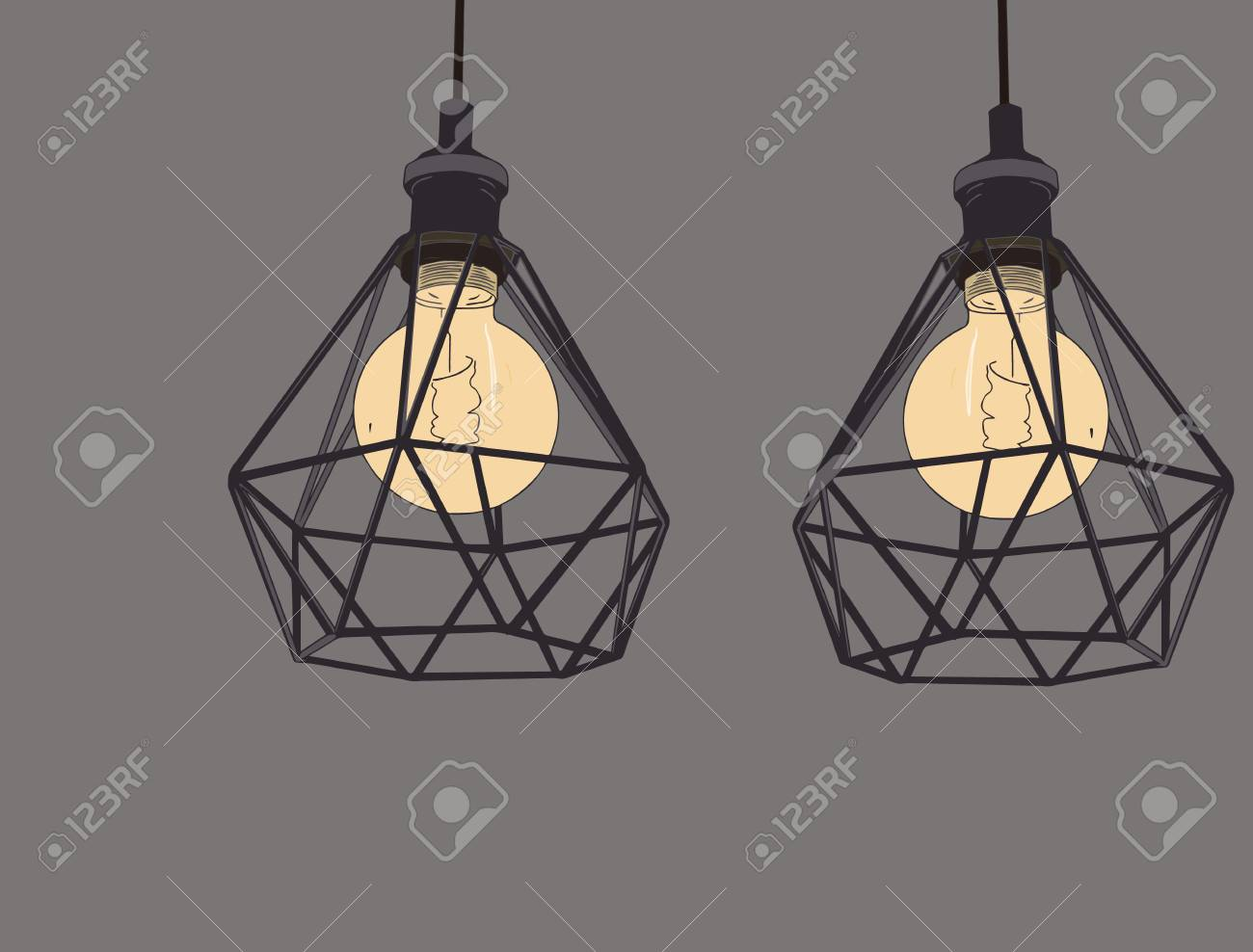 Collection Of Vintage Symbols Light Bulbs And Lamps Edison Light