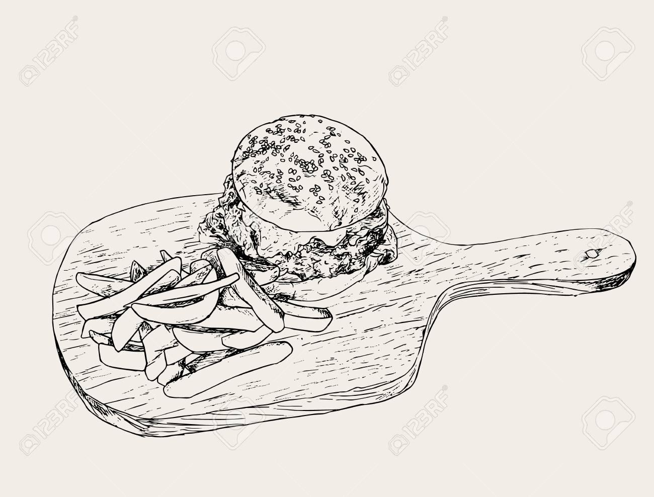 hamburger and fries a set of fast food drawings drawn by hand