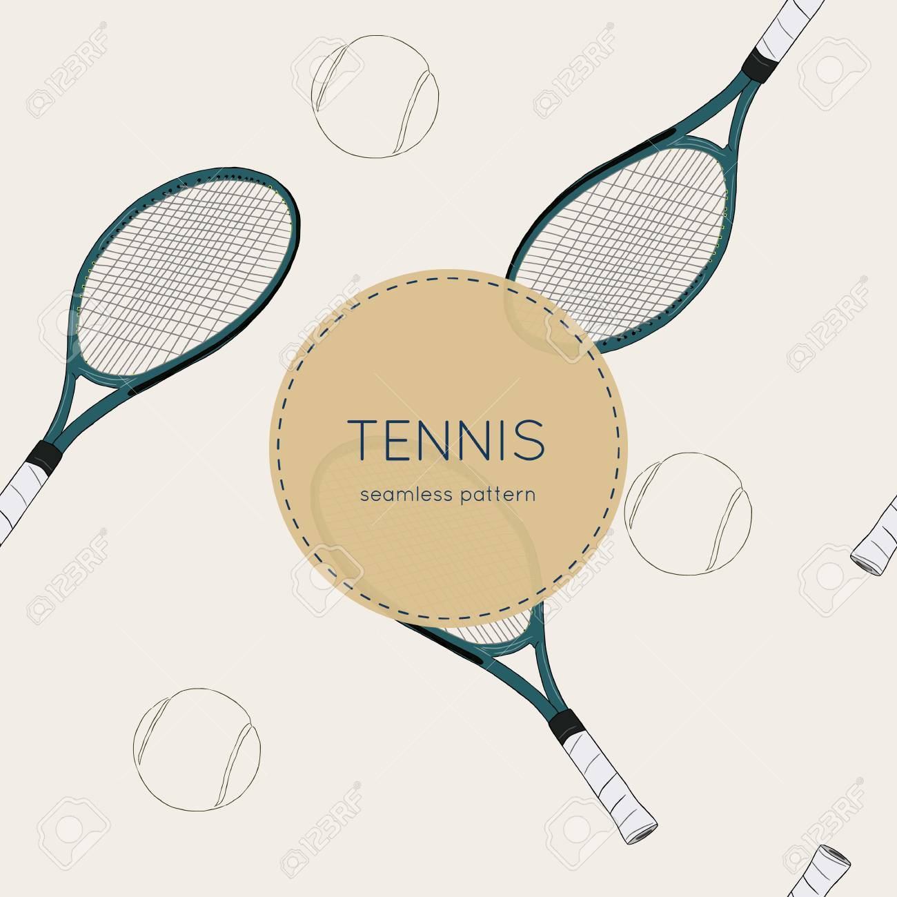 Vector Illustration Of Drawing Tennis Set Tennis Racquet And