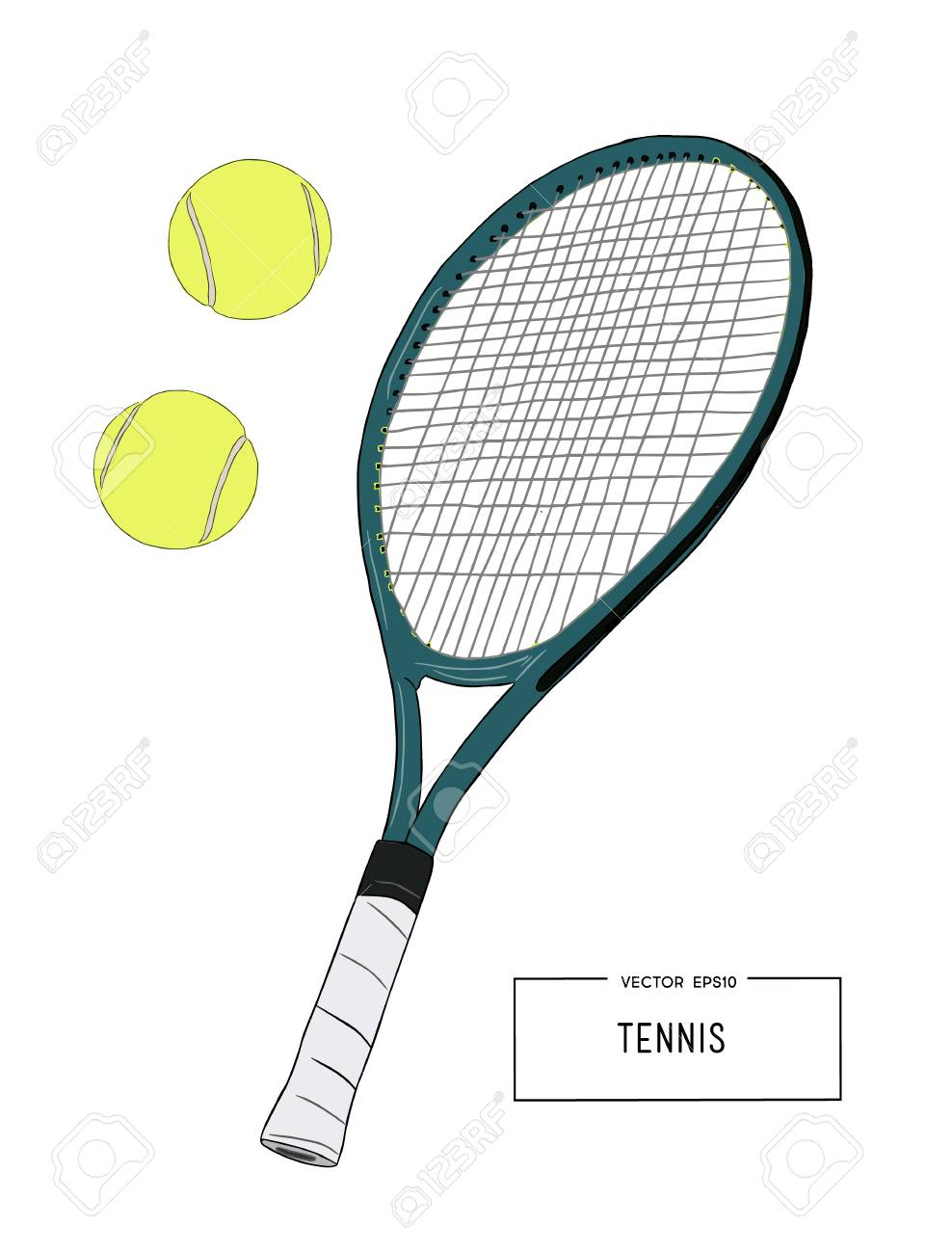 Vector Illustration Of Drawing Tennis Set Tennis Racquet And Royalty Free Cliparts Vectors And Stock Illustration Image 83943255