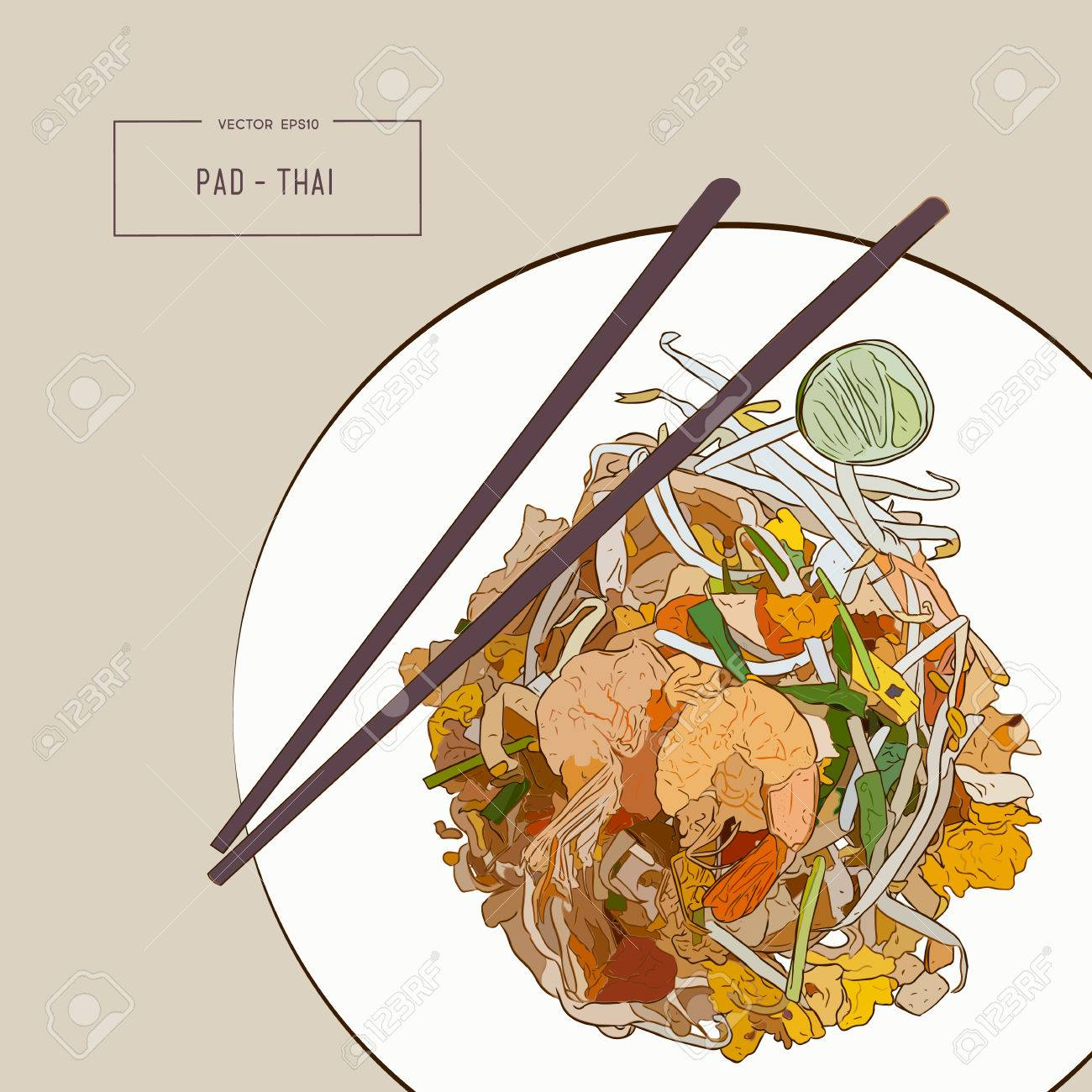 Pat Thai stir-fried rice noodle local Thailand food, hand draw sketch vector. - 83943272