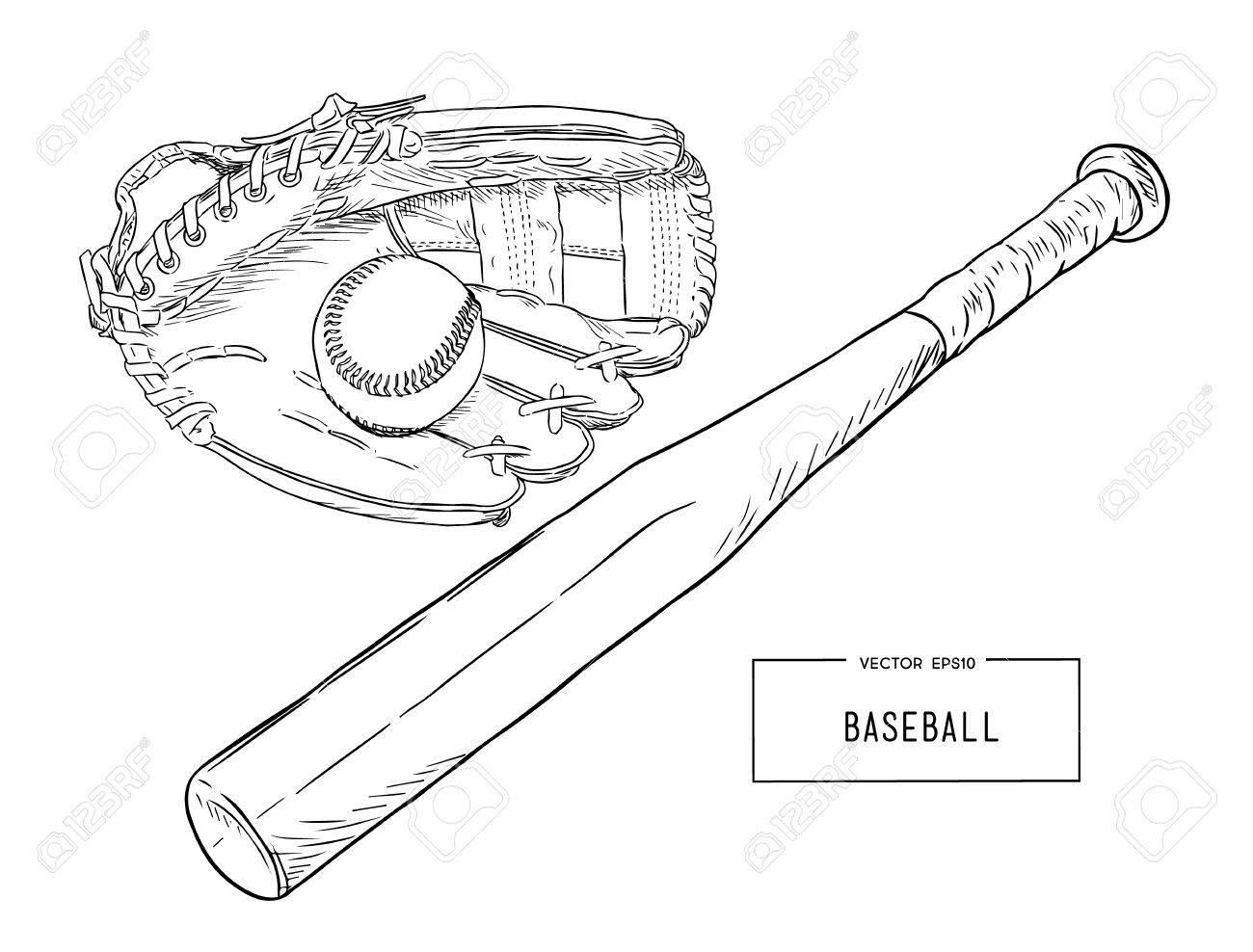 Una Colección De Elementos Ilustrados Del Béisbol. Batts, Bolas ...