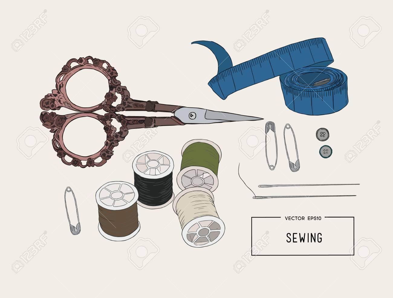 Color Set Of Objects For Sewing Handicraft Sewing Tools And