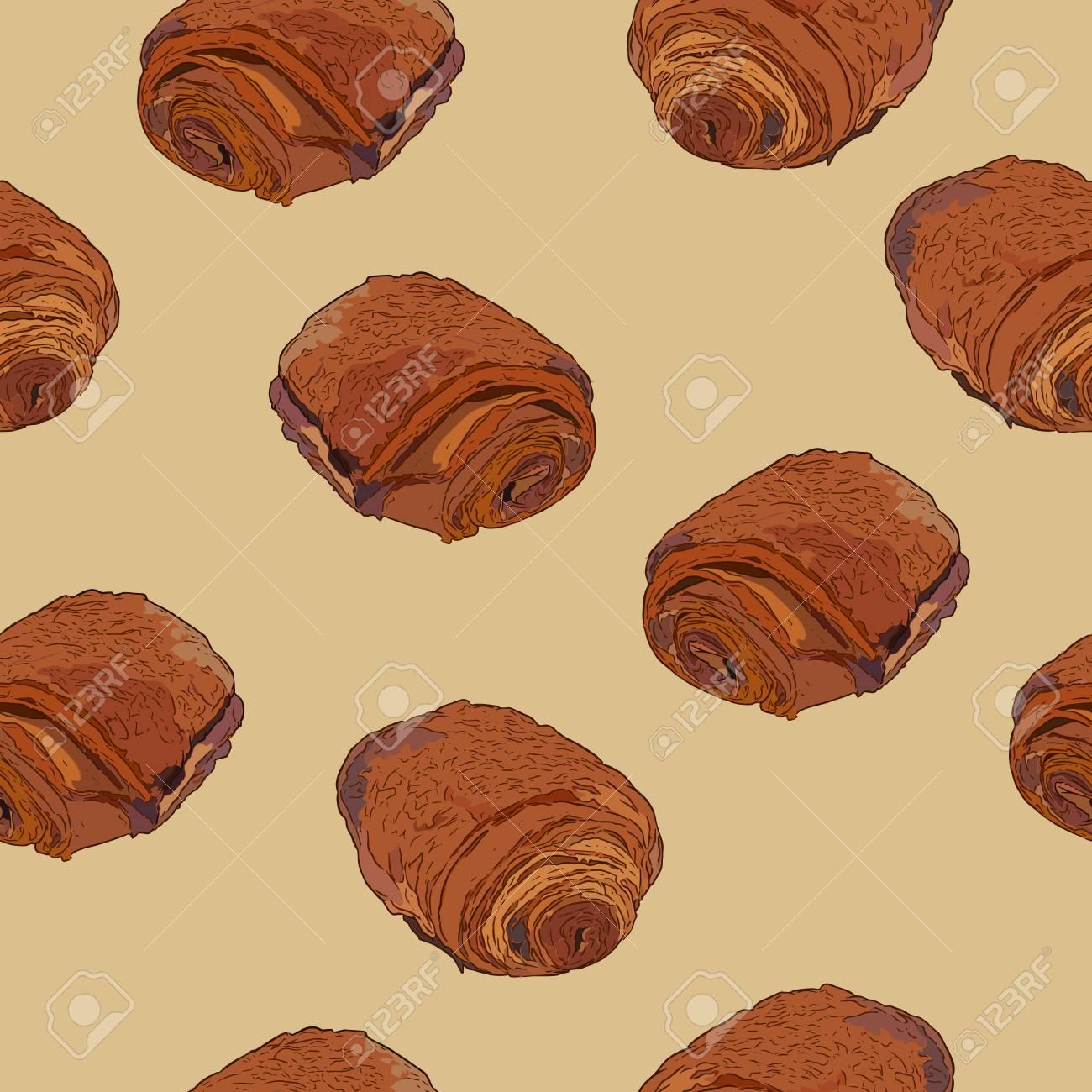 Croissants Au Chocolat Pain Au Chocolat Pâtisserie Traditionnelle Française Main Dessiner Le Vecteur De Modèle Sans Couture De Croquis