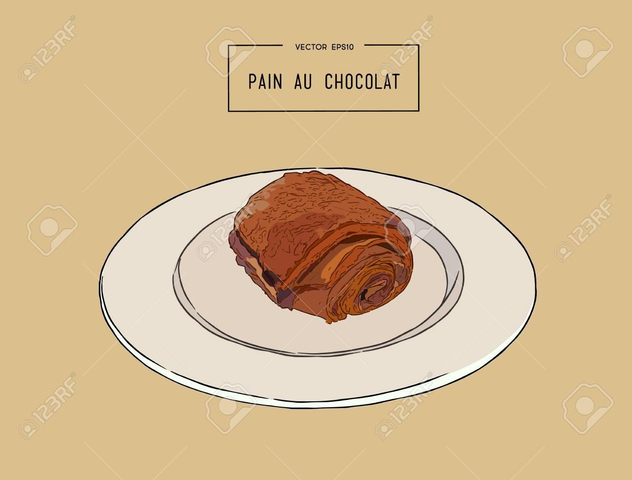 Croissants Au Chocolat Pain Au Chocolat Pâtisserie Traditionnelle Française Main Dessiner Le Vecteur De Croquis