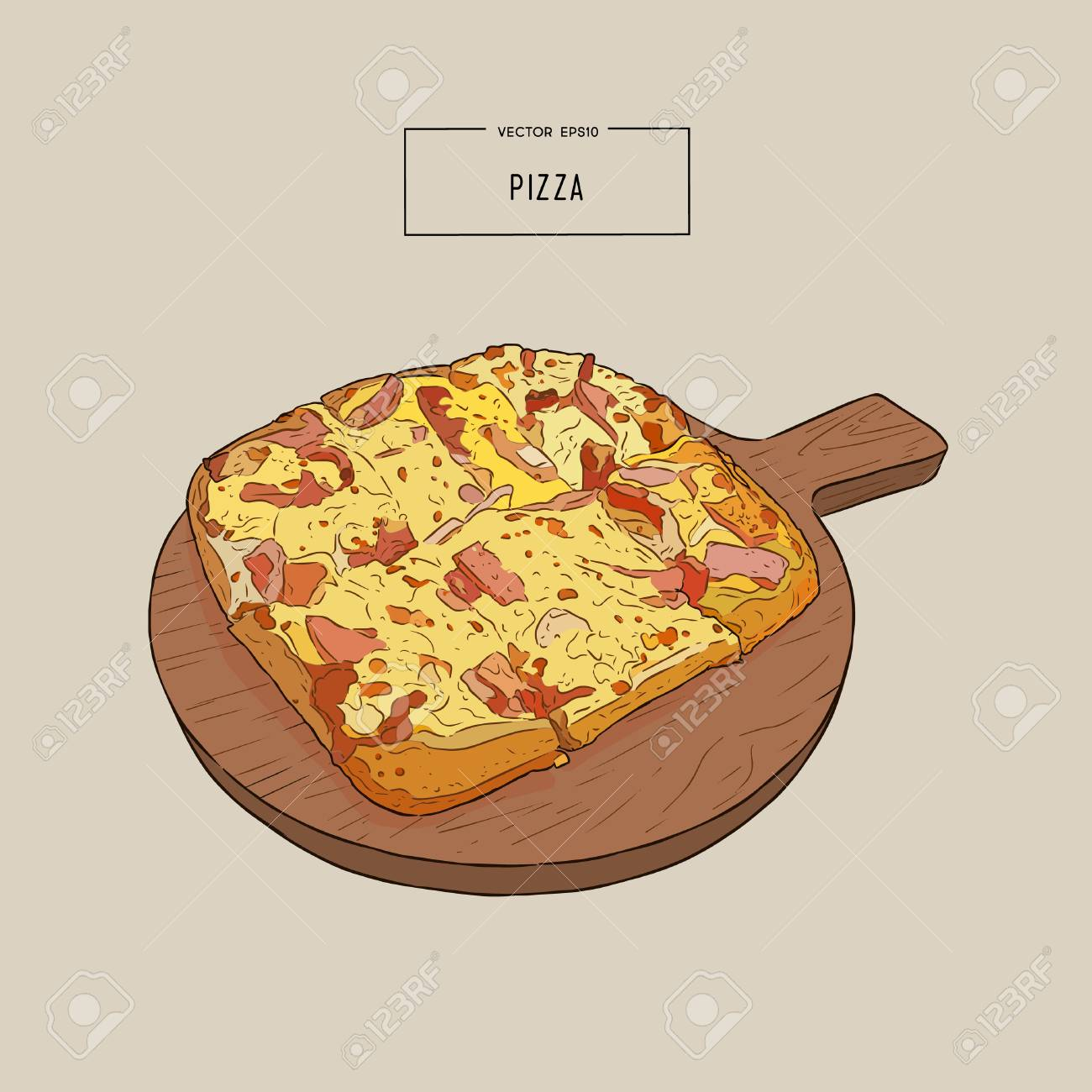 Pizza on the wooden board hand draw sketch design illustration. - 88613125