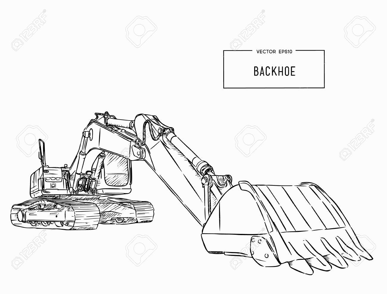 Yellow backhoe loader .Construction machinery. Special equipment. Vector illustration. hand draw sketch vector. - 89105880