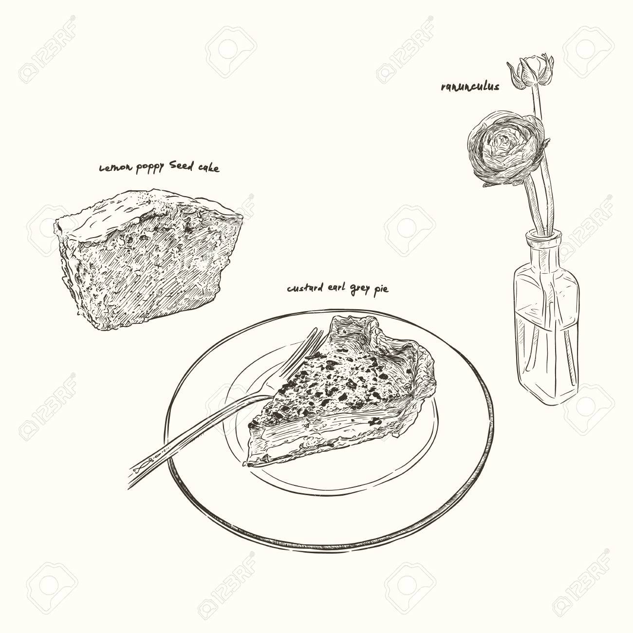 Slice Of Lemon Cake And Custard Earl Grey Pie With Yellow Ranunculus
