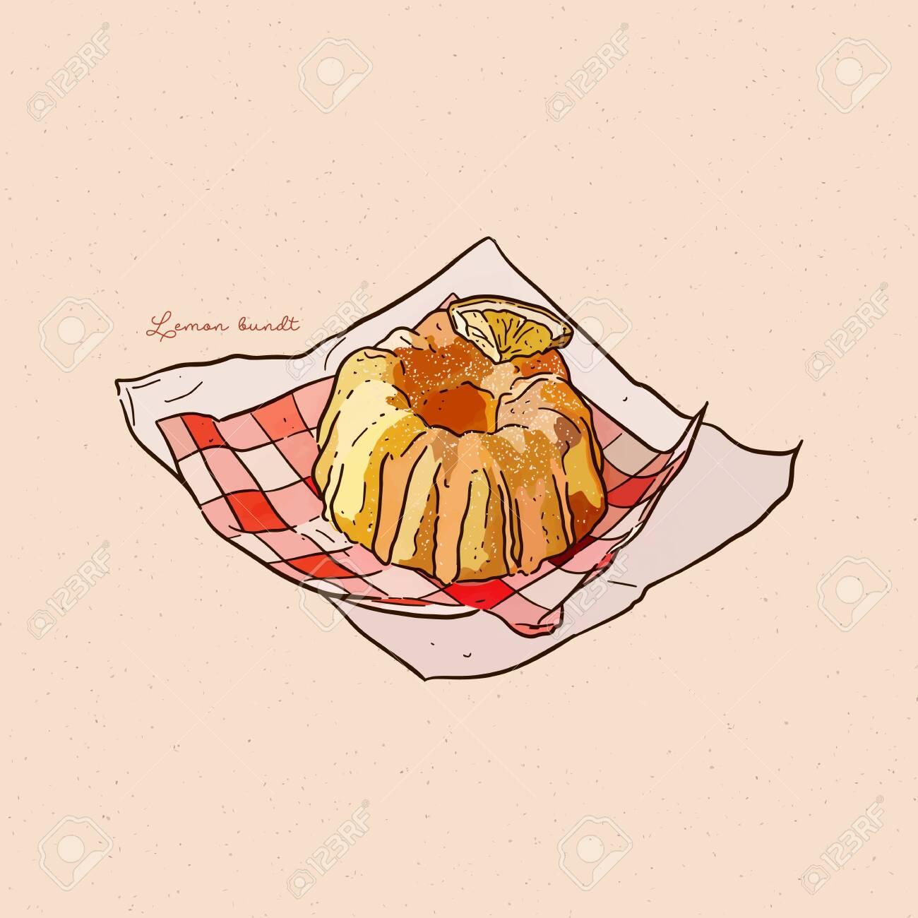Lemon bundt cake, hand draw sketch vector. - 148151023
