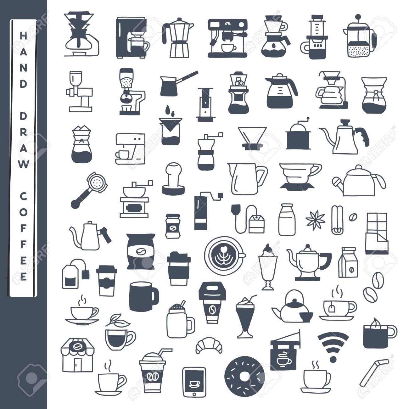 Hand draw coffee icon vector set. - 148719511