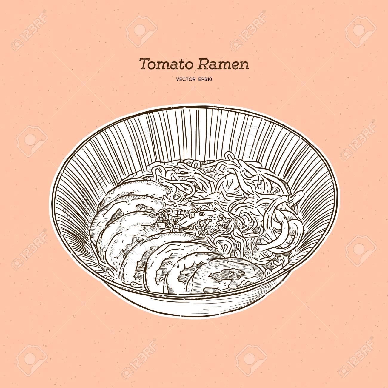 Tomato ramen for vegeterian, hand draw sketch vector. - 149315120