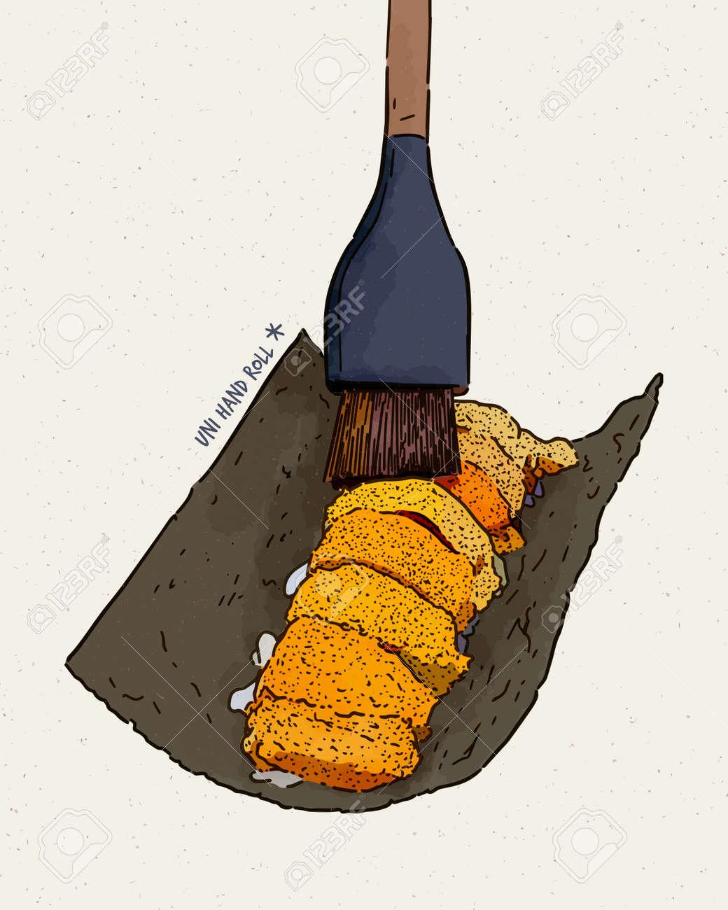 Omakase Uni - fresh sweet uni sashimi of dried seaweed, Japanese traditional food. hand draw sketch vector. - 165340375