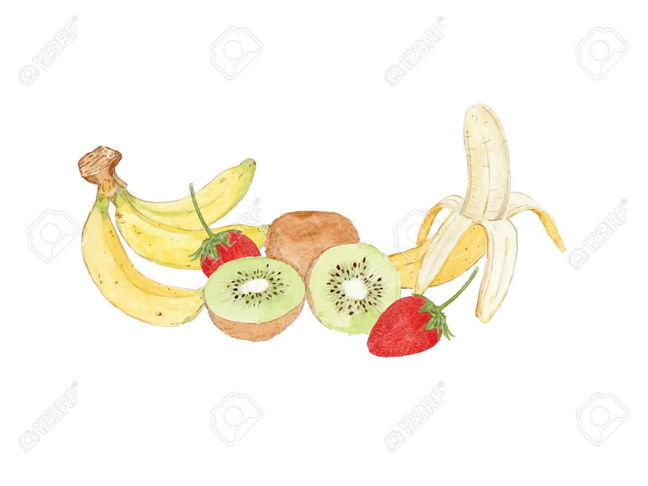 Set of fruit, banana, kiwi and strawberry. hand draw sketch vector. - 165340401