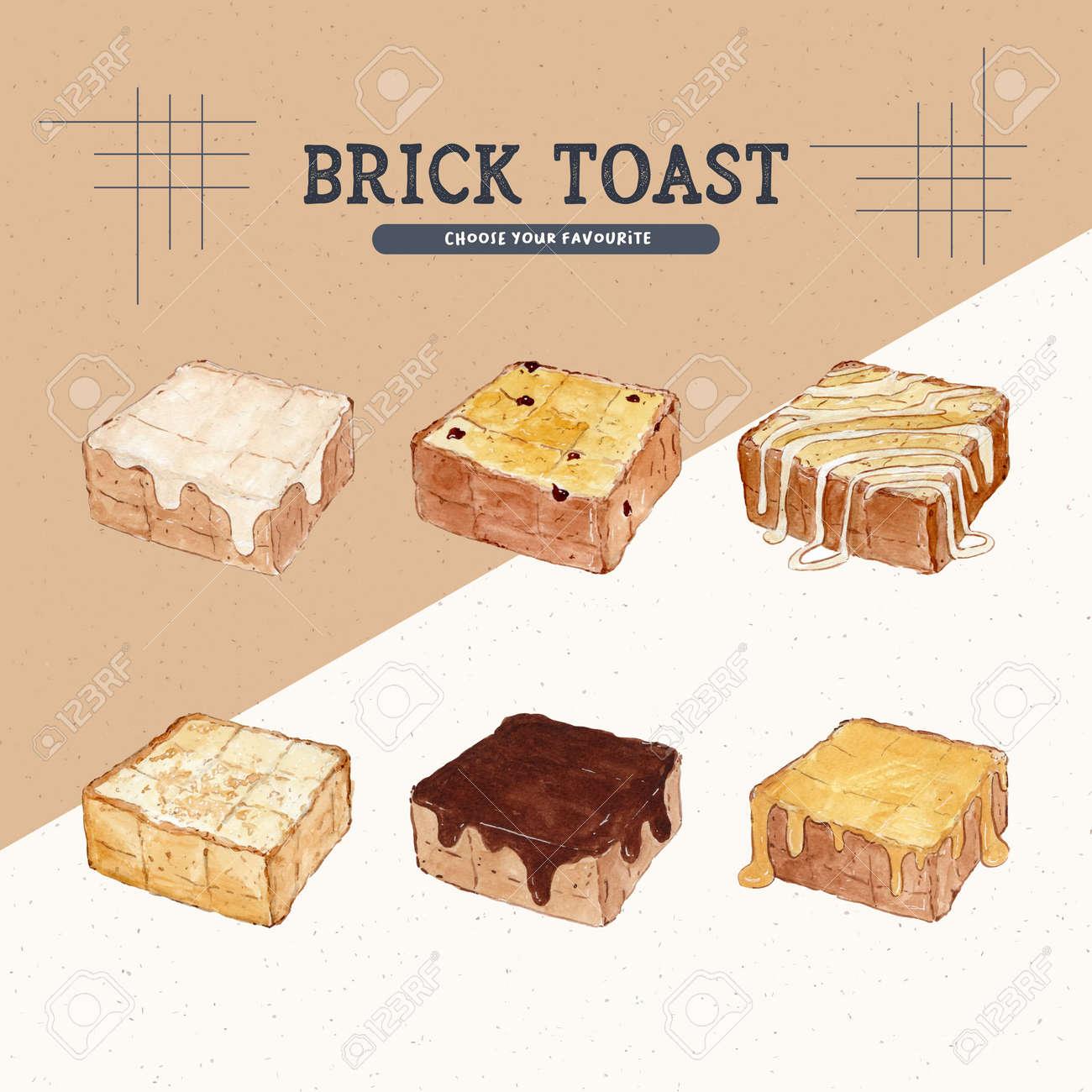 Brick toast, hand draw sketch vector. - 165340407