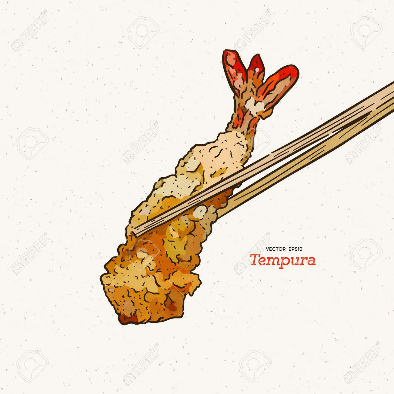 Illustration of a Pair of Chopsticks Holding a Piece of Tempura - 165340408